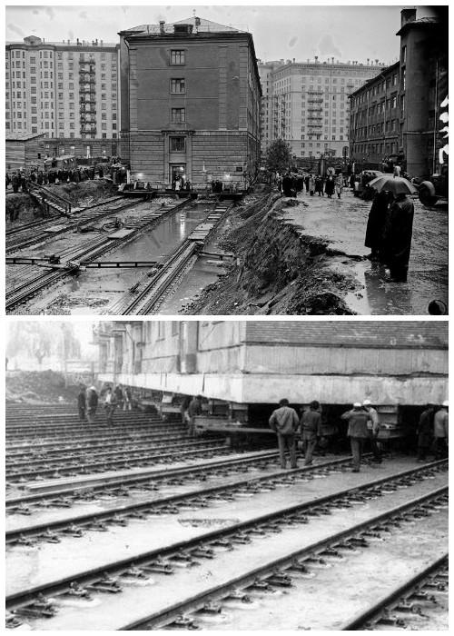 Здание больницы не только передвинули, но и развернули на 97 градусов и поставили на вновь построенный цоколь (улица Тверская, Москва).