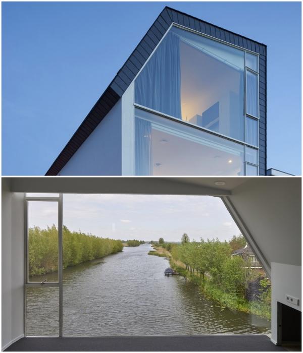 На третьем уровне расположена уютная спальня, оформленная в минималистском стиле (Meerkerk, Голландия). | Фото: rvarchitectuur.nl.