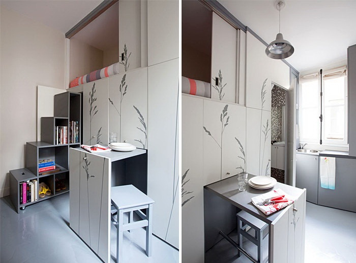 Такой шкаф отлично организует обеденную зону и спальное место одновременно.