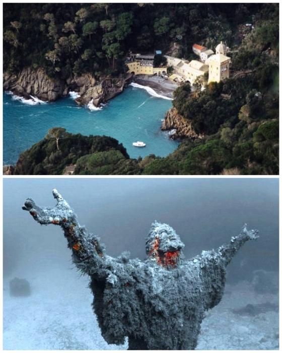 Статуя «Христос из бездны» – один из самых необычных памятников в мире (бухта Сан Фруттуозо, Италия). | Фото: free-eyes.com.