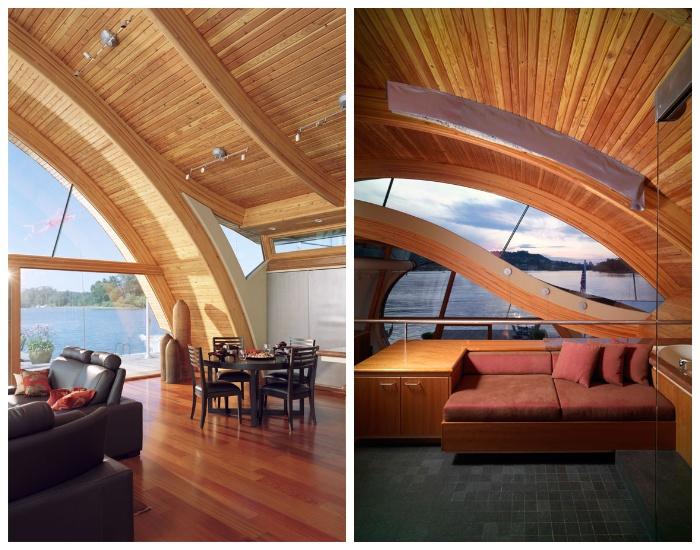 Внутренне убранство первого уровня плавучего дома Fennell Residence (Портленде, США).