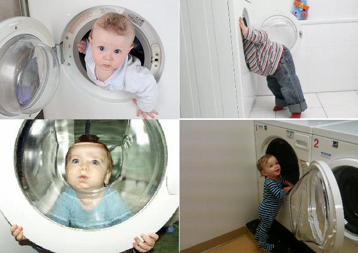 Берегите своих малышей от стиральной машинки.