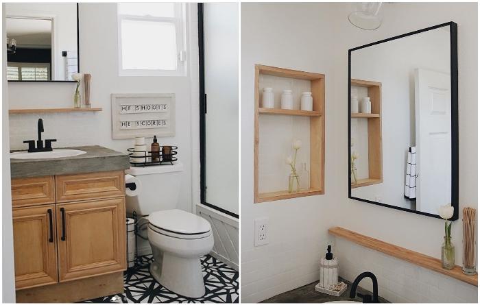 На преобразование унылой ванной комнаты было потрачено всего 8 дней. | Фото: youtube.com/ © Living to DIY with Rachel Metz.