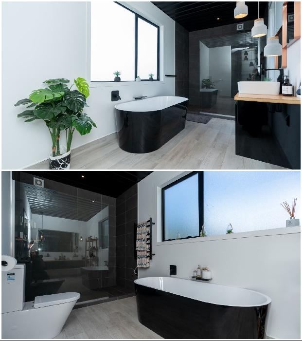 Ванные комнаты оформлены в черно-белых тонах. © Trade Me.