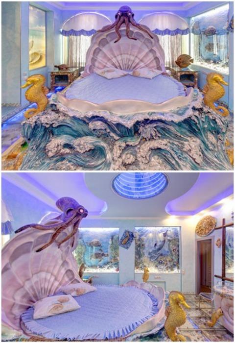 В апартаментах «Лагуна» можно оказаться в окружении морских обитателей и выспаться в уютной раковине (Отель «Замок снов», г. Домодедово). | Фото: 7z5.ru.