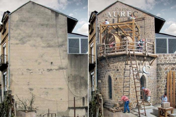 Удивительный стрит-арт: французский художник наполняет скучные стены зданий яркой жизнью (Patrick Commecy & A.Fresco).   Фото: istina.russian-albion.com.
