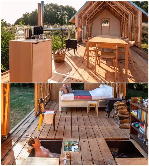 На центральной террасе можно устроить бурную вечеринку или расслабиться в необычной ванной в полном уединении (Cabin ANNA).