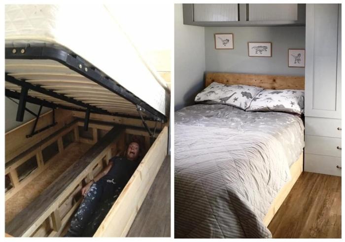 Вместительную двуспальную кровать молодой человек сделал сам из оставшихся пиломатериалов. | Фото: pensandpatron.com.
