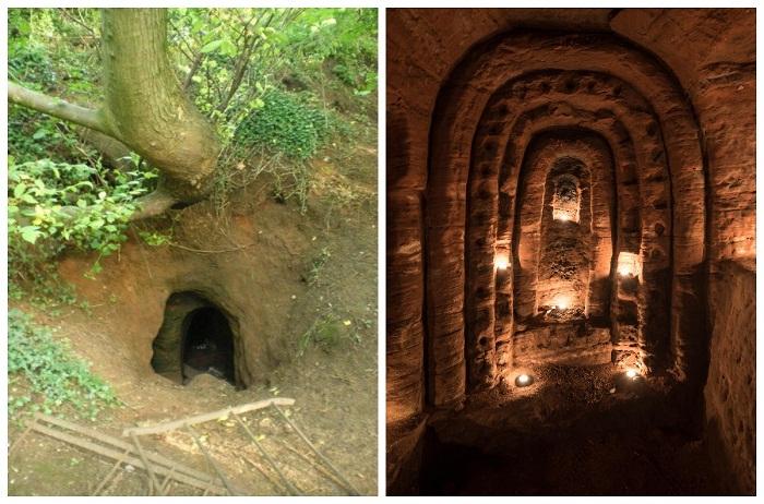 За обычной норой скрывается таинственный подземный храм (Caynton Caves, Великобритания).