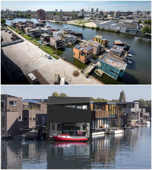 В Амстердаме организовали уникальное плавучее сообщество Schoonschip (Нидерланды).