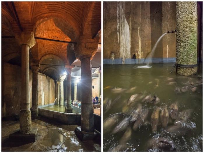 В подземном музее оформили «бассейн желаний», в котором есть совсем не золотые, но все же рыбки призванные исполнять мечты (Basilica Cistern, Стамбул). | Фото: vladimirdar.livejournal.com.