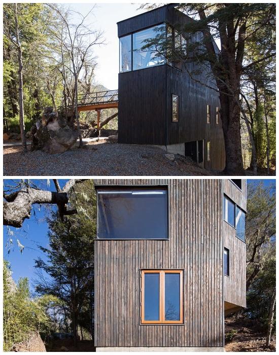 Экстерьер дома выполнен из натуральных материалов и украшен панорамными окнами (La Dacha, Чили).