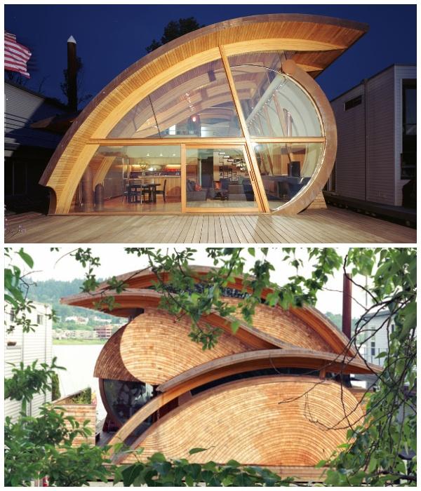 Плавучий дом Fennell Residence гармонично вписывается в окружающий ландшафт (Портленд, США).