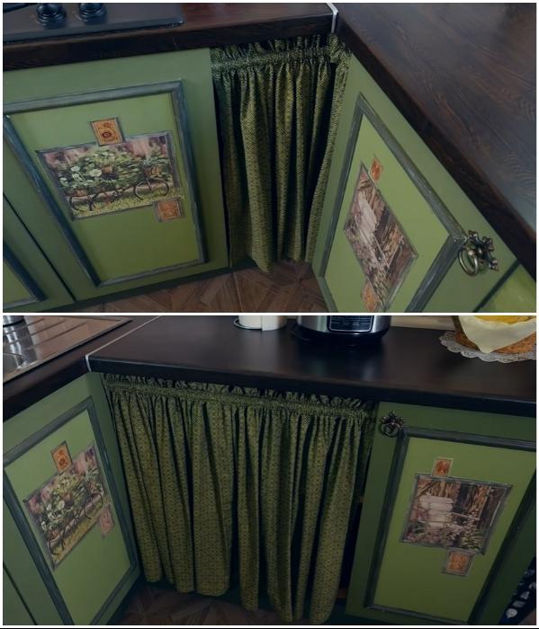 Чтобы закрыть образовавшие пролеты в мебельном гарнитуре и в углах мастерица повесила плотные шторки в тон дверным фасадам. | Фото: youtube.com/ © Новая Кухня Натали Нуво.