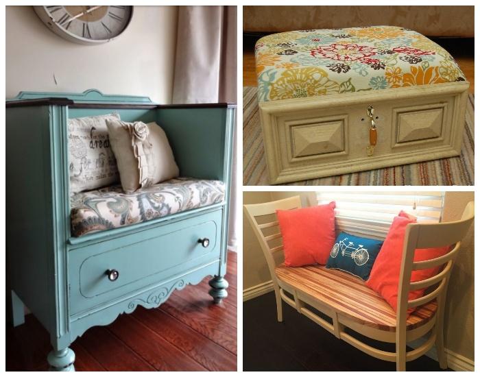 Из самых неожиданных предметов мебели можно сделать мягкий диванчик или пуфик.