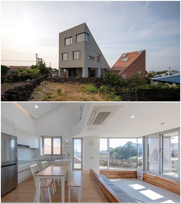 The Stair House состоит из трех треугольных объектов (о-в Чеджу, Южная Корея).