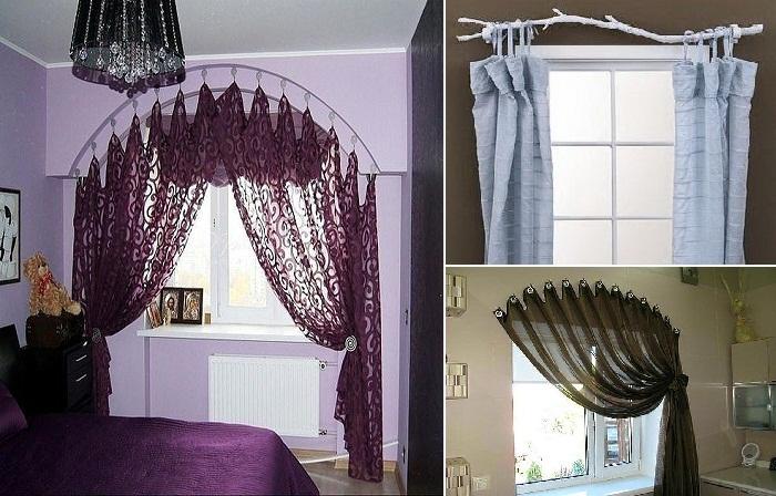 Как оригинально повесить шторы без карниза.