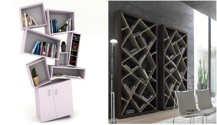 Очень оригинальная конструкция шкафа и стеллажа.