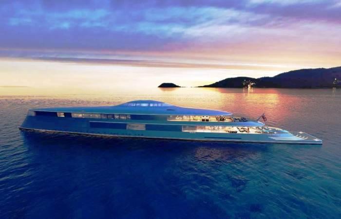 Уменьшенная модель суперяхты составляет 2 м (концепт «AQUA»). | Фото: interparus.com/ © Sinot Yacht.
