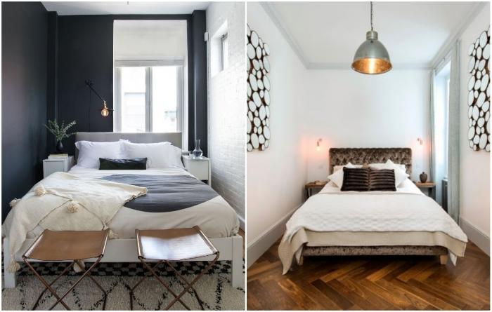 Узкие спальни лучше оформлять в контрастных тонах или добавить ярко выраженный акцент. | Фото: dizajngid.ru/ modernplace.ru.