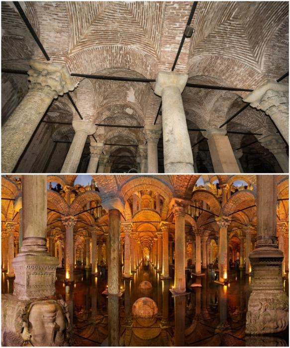 Колонны для строительства подземного водохранилища были привезены из храмов, разоренных византийцами во время войн (Basilica Cistern, Стамбул). | Фото: wordsofwonders.ru.