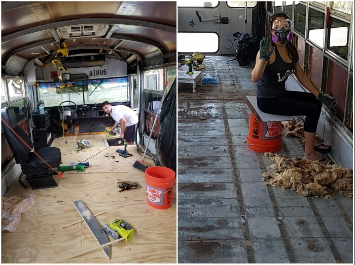 Все работы по переоборудованию автобуса ребята проводили сами. | Фото: facebook.com/ © Going Boundless.