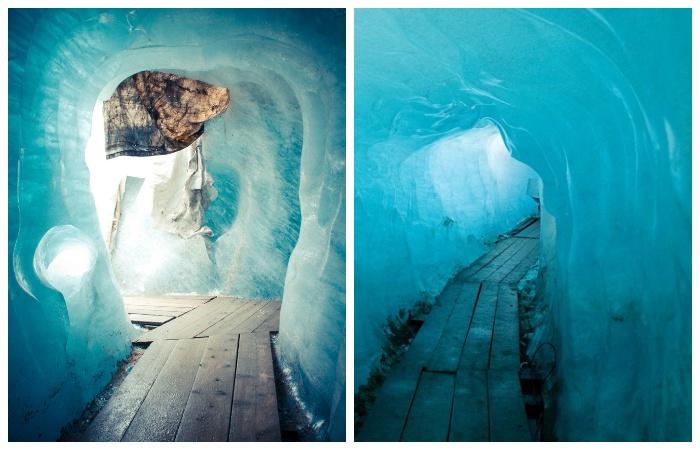 Солнце, проникая через толщу льда озаряют грот невероятным синим цветом.