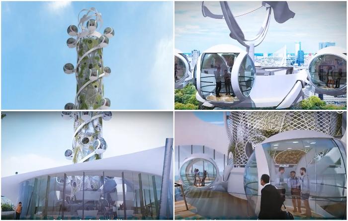 В Нидерландах разработали небоскреб-аттракцион, наружные лифты которого будут вырабатывать электроэнергию (концепт «Spiral Tower»). | Фото: youtube.com/ © NorthernLight.
