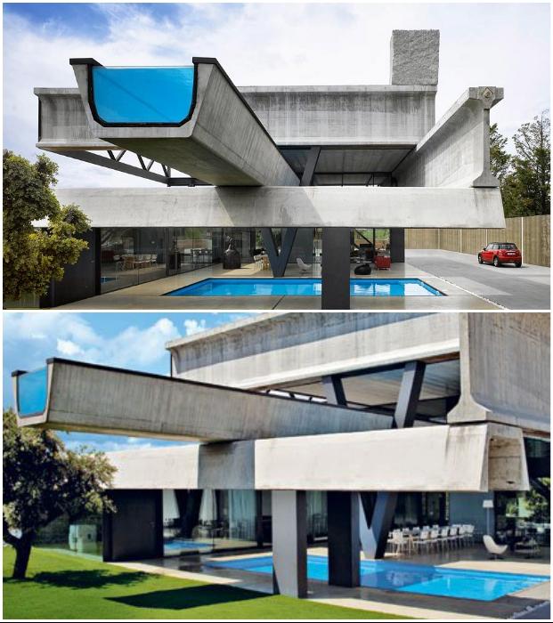 Эксцентричная Villa Hemeroscopium создана из бетонных балок и блоков (пригород Мадрида, Испания).