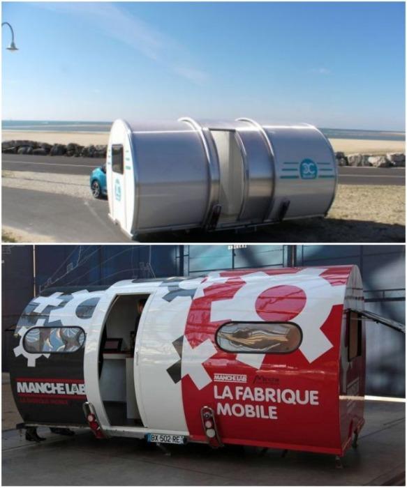 «Телескопический» трейлер Beauer 3X имеет конструкцию, позволяющую увеличивать пространство с 4 до 12 кв. м. всего лишь за 20 секунд. livinginashoebox.com.