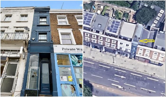 Самый узкий дом Лондона, шириной всего лишь 1,65 м выставлен на продажу, за него просят 1,3 млн дол.   Фото: boredpanda.com/ es.finance.yahoo.com.