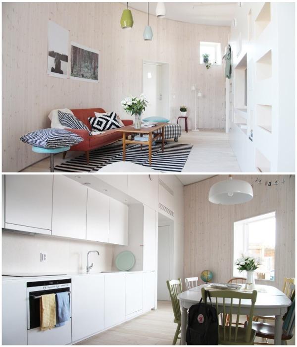 В оформлении интерьера использовались светлые тона, которые визуально увеличивают внутреннее пространство дома (концепт дома «HALO»). | Фото: nordicdesign.ru.
