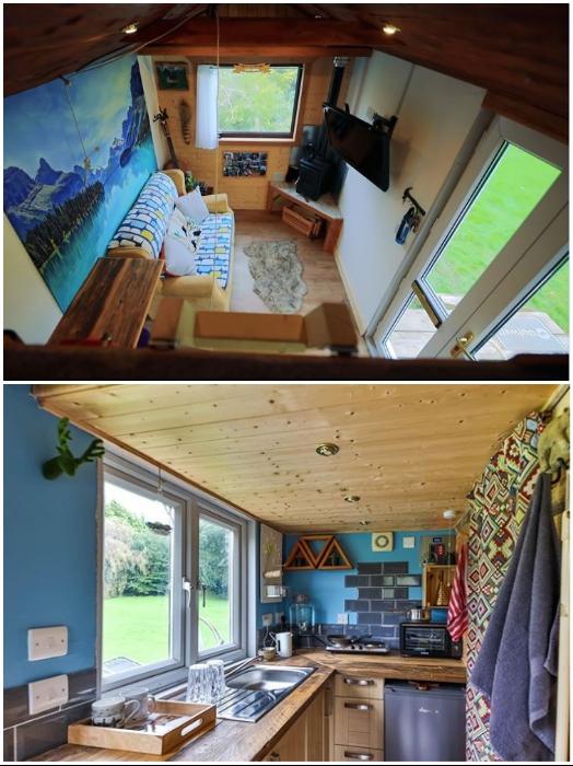 Благодаря стеклянной двери и большим окнам мобильный крошечный домик получился довольно светлым и визуально более просторным. | Фото: boredpanda.com/ instagram.com/ © Toms Tiny Home Project.