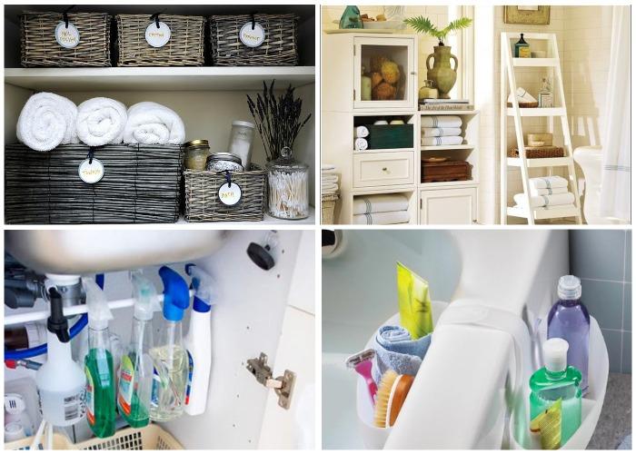 Рационально организованные системы хранения в ванной комнате.