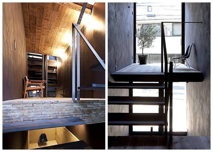 Рабочий кабинет и зона отдыха («Ultra-Narrow House», Токио).
