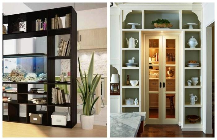 Открытые стеллажи можно использовать для зонирования помещения и рационального использования пространства вокруг двери.