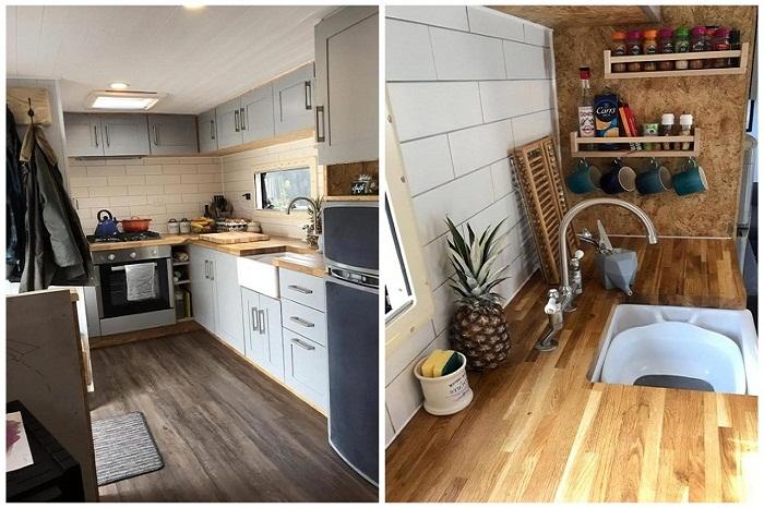 Комфортная кухня в доме на колесах.