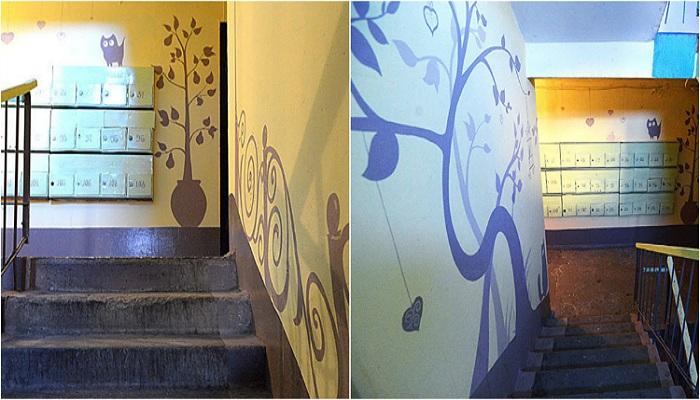 Простой трафаретный рисунок может быть настоящим произведением искусства и обязательно украсит стены подъезда. | Фото: golbis.com.