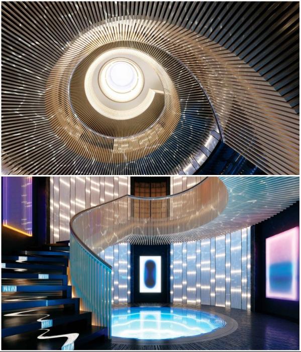 Оригинальная винтовая лестница ведет в зал, где можно увидеть капсулы с жидким водородом (концепт «AQUA»). | Фото: interparus.com/ interestingengineering.com, © Sinot Yacht.