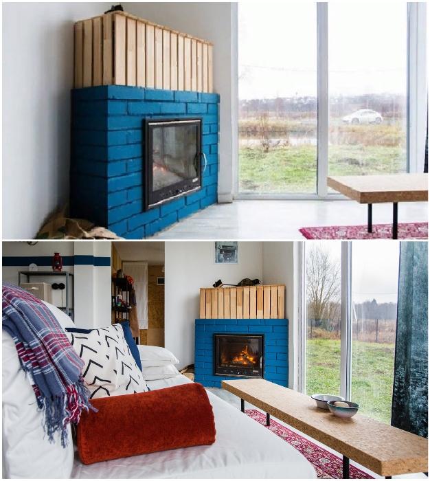 В гостиной установили настоящий дровяной камин, который создает особенную атмосферу тепла и домашнего уюта («Небанальный дачный домик», Истра). © Xenia Naletova.