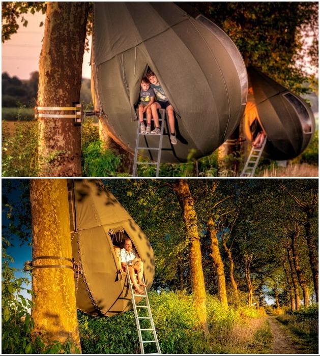 Для того чтобы попасть в номер нужно воспользоваться лестницей («Tranendreef & Tentvillage», Бельгия). | Фото: ukrinform.ru.