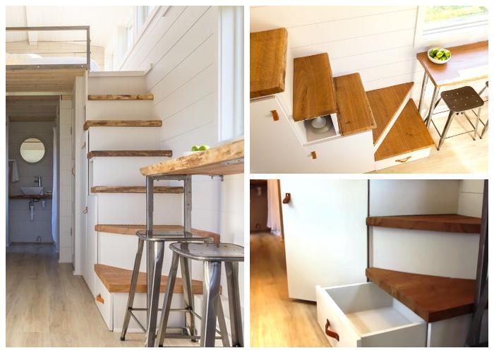 Под ступенями, ведущими на второй этаж оформили вместительные системы хранения (дом-фургон «Эльза»). | Фото: youtube.com.