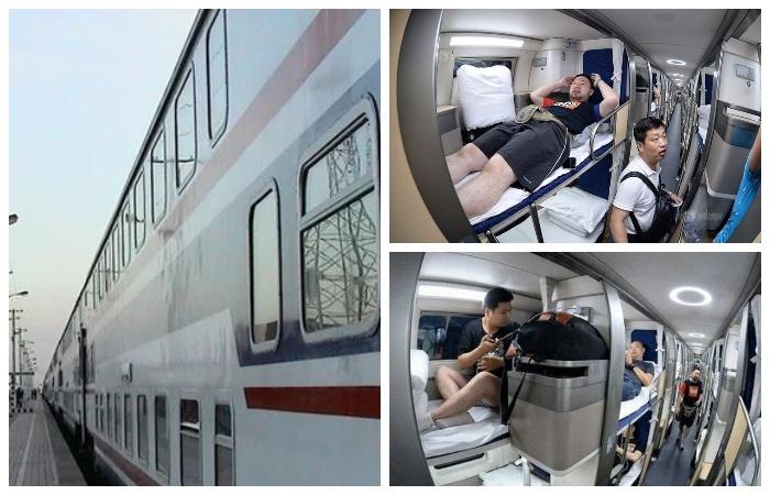 Своеобразный спальный вагон в скоростном поезде (Китай).