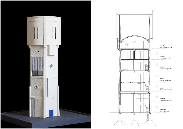 Макет и план-чертеж преобразований в старой водонапорной башне (Watertower Nieuw Lekkerland, Нидерланды).