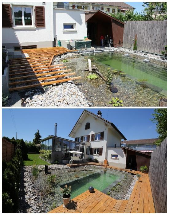 Для создания зоны отдыха вокруг пруда построили деревянную площадку. | Фото: elegimaldia.es.