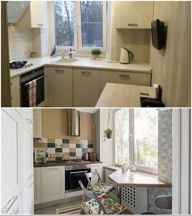 При задействовании зоны у окна, подоконник целесообразней заменить столешницей или барной стройкой.