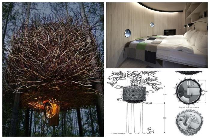 Интерьер номера «Bird's Nest», имеющий вид огромного птичьего гнезда оформлен в современном стиле (отель Treehotel). | Фото: memari-az.blogsky.com.