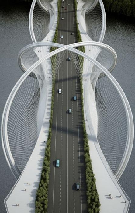 Пешеходные дорожки отделены от автомагистрали деревьями и кустами (Мост San Shan, Китай). | Фото: revistaestilopropio.com.