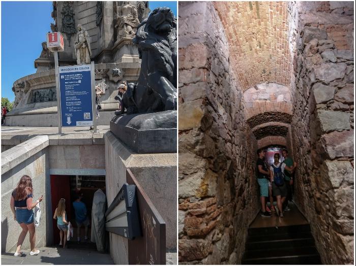 Вход и лифт, которые ведут к смотровой площадке, расположенной в самом памятнике Христофору Колумбу. | Фото: shagau.ru.