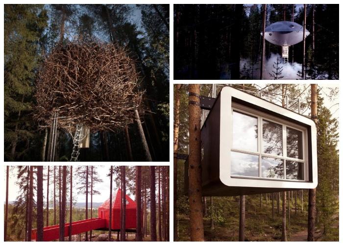 Уникальный гостиничный комплекс Treehotel с номерами, расположенными на кронах деревьев (Швеция).